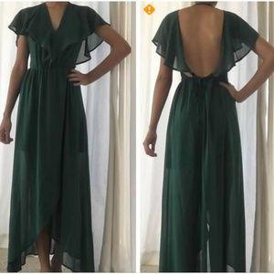 Emerald/Forest Green Chiffon Backless Dress